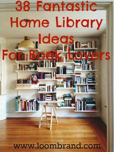 38 Fantastic Home Library Ideas For Book Lovers - Crafts - DIY - Easy Stuff - Livres Library Bedroom, Home Library Rooms, Home Library Design, Small House Interior Design, Home Libraries, Home Office Design, Library Books, Home Office Decor, Library Ideas