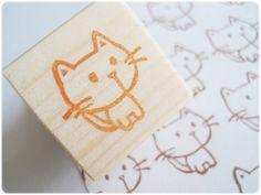 Cute little cat stampHandmade kitten by JapaneseRubberStamps, £5.00