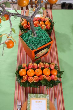 Orange party table decor