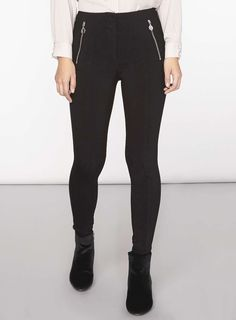 petite Black Zip Bengaline Trousers