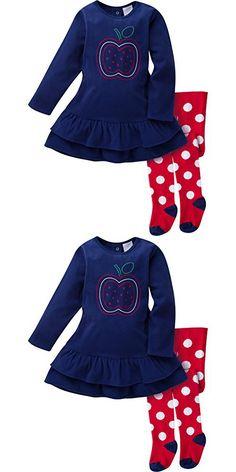 Gerber Girls' Micro Fleece Dress with Tights, Apple, 12 Months