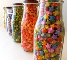 Colorful Shimmery Origami Stars.