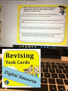 Revising Task Cards - Digital Resource for Google Slides provide students with practice revising - an important part of the writing process - for middle school and upper elementary language arts students in grades 4, 5, 6, and 7. Pre Writing, Teaching Writing, Close Reading Activities, Middle School Writing, Writing Process, Upper Elementary, Task Cards, Language Arts, Students