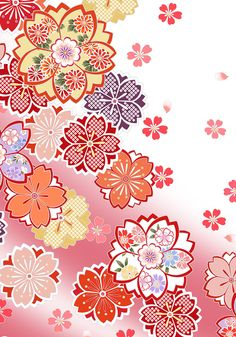 Flower pattern of Japan on Behance Japanese Flowers, Japanese Paper, Japanese Fabric, Japan Illustration, Pattern Illustration, Japanese Textiles, Japanese Patterns, Simple Flower Drawing, Simple Flowers