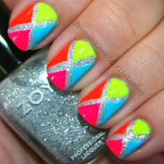 Summer nails:) neon, bright, sparkly