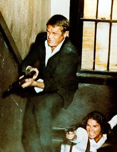 """A scene from the 1972 Sam Peckinpah classic """"The Getaway"""" starring Steve McQueen & Ali McGraw. Steve Mcqueen, Sam Peckinpah, Ali Macgraw, Getaway Film, Sally Struthers, Slim Pickens, Gena Rowlands, Us Actress, Gangster Movies"""