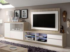 Mueble de salón en olmo y blanco.Panel de tv giratorio opcional...