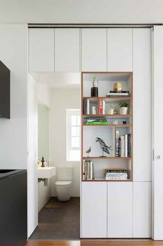Storage space Gallery - Darlinghurst Apartment / Brad Swartz Architect - 5 Bracelets Through The Age House Design, Shelves, Small Spaces, Interior, Micro Apartment, Home, Interior Architecture, House Interior, Furniture Design