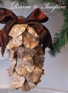 Homemade pine cone ornament
