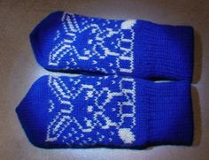 Mittens for children, 100% wool. Blue and white, rabbit pattern