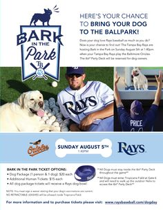 Are you ready for Bark in the Park? When the Rays take on the Orioles August 5th, you can have your four legged friend right next to you to root on the Rays. For more information: http://tampabay.rays.mlb.com/tb/ticketing/groups/group.jsp?loc=dogday1