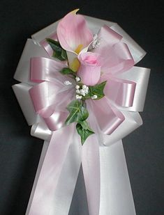 Items similar to White/Pink w/Pink Calla Lily and Pink Rose Pew Bows - Wedding Decorations on Etsy Royal Blue Wedding Decorations, Church Wedding Decorations, Ceremony Decorations, Wedding Centerpieces, Wedding Table, Wedding Gift Wrapping, Wedding Bows, Wedding Flowers, Wedding Ideas