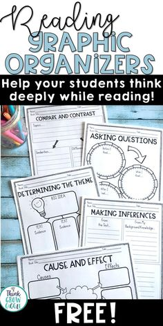 Looking for free reading graphic organizers that will help your students think critically and deeply as they read, while meeting the common core reading standards? Grab this free set of reading graphic organizers that include organizers to address: compar Reading Centers, Reading Skills, Teaching Reading, Free Reading, Reading Groups, Star Reading, Reading Table, Writing Skills, Common Core Reading Standards
