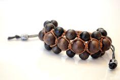 Dark Wooden Macramé Bracelet 3 row Shamballa by OxyFineCrafts