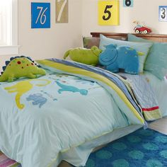Most Popular Dinosaur Bedroom Children Inspiration Dinosaur Bed Set, Dinosaur Comforter, Dinosaur Bedroom, White Wall Paint, White Walls, Kids Decor, Home Decor, Bedroom Colors, Duvet Cover Sets