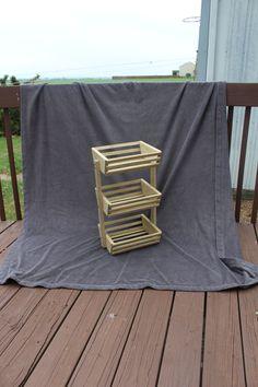 3 Tiered Weathered Oak Stained, Wooden Basket, Storage Basket, Market Basket, Fruit Holder, Vegetable Storage, Fruit Basket, Crate by TreeLineWoodProducts on Etsy
