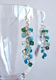 a60a5d7cf97 Sea Shower cluster earrings - Swarovski crystals, Sterling Silver - blue,  aqua, teal, turquoise