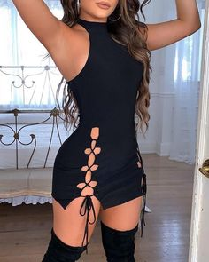 ivrose / Sólido oco Out Lace-Up vestido sem mangas Bodycon Sexy Outfits, Sexy Dresses, Cute Outfits, Fashion Outfits, Trendy Outfits, Night Outfits, Bar Outfits, 1950s Dresses, Dinner Outfits