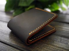 Men's crazy horse Leather Wallet/Slim Bifold Wallet / Men Engraved Wallet / Personalized Wallet/Best gift/ for Him/Hand-stiched wallet
