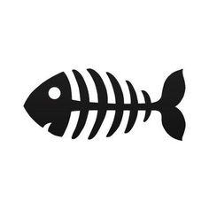 Cartoon Fish Skeleton   Decal Sticker Funny Cartoon fishbone Aquarium ... XRKR4 400 x 400