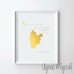 """Winnie the Pooh II Quote Gold Foil Print, Gold Print, Custom Print in Gold, Art Print, Gold Foil Art Print  - These prints are 100% handmade in shiny gold finish with REAL GOLD FOIL.  - All designs are printed on premium quality matte finished photo papers. - Listing is for gold print only. Frame is not included. - Picture shown is gold print size of 8.5"""" x 11""""."""