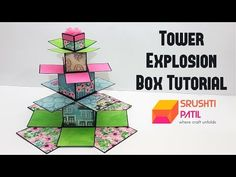 Tower Explosion Box Tutorial by Srushti Patil - Gifts box ideas, Gifts for teens,Gifts for boyfriend, Gifts packaging Exploding Box Template, Exploding Gift Box, Box Cards Tutorial, Card Tutorials, Diy Gift Box, Diy Box, Explosion Box Tutorial, Foto 3d, Creative Box