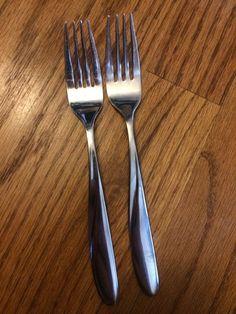 "Hampton Silver Glacier Stainless Glossy Wave 2 Salad Forks 6 7 8"" | eBay"