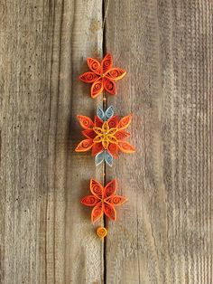 Quilled Orange Flower Ornament: Valentine's Day Gift, Wedding Décor, Holiday Gift, Home Décor, Art Collectable, 3 layers
