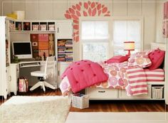 teenage girl bedroom ideas for really small rooms cheap and simple and chic   this one too...the rug, wall design, colors...and finally...