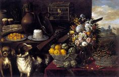 1645 The Month of May by Francisco Barrera. Detail: dog, silver basket,  artichoke, green beans, lemons, flowers, musket, vase, asparagus, jug, wheat, jar, brass basin, bird, bird cage,  pottery goblet, beer, peaches. Francisco Barrera (1595-1658).