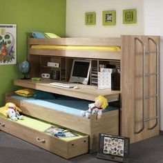 hoogslaper met bureau en logeerbed. Bunk bed with desk. #kinderkamer #nursery