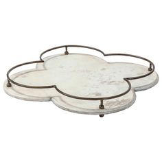 Colbert French Antique Cream Gold Clover Tray | Kathy Kuo Home
