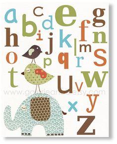 Nursery art print, nursery decor, baby nursery print, kids art, kids room decor, children art, Elephant Birds, Best Friends Alphabet 8x10. $14.00, via Etsy.
