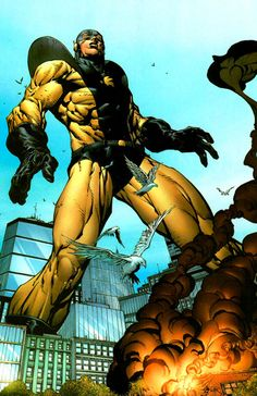 """Yellowjacket (Dr. Henry Jonathan """"Hank"""" Pym aliases; Giant-Man, Goliath) (Human/empowered) (Elmsford, New York, U.S.A.) Biochemist, Adventurer. Genius-level intellect. Size-Shifting; Microscopic -100 feet gigantic.  Ability to transfer his size-shifting to other beings and objects. Bio-Energy Projection, also known as a Bio-Sting.  Flight via grafted wings. Half inch to 30' 0"""" tall."""