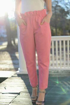 Hot Pink Pants With Adorable Ruffled Waist 100% by SaintAndRambler