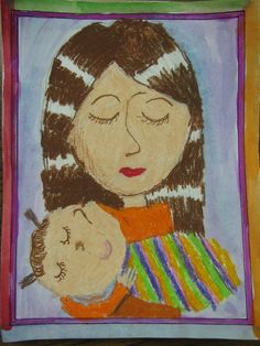 "1st grade Mother and baby painting; 9""x12""; art teacher: Susan Joe"