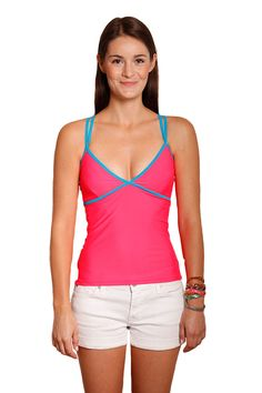 Boobypack Women s Tankini Top with Waterproof Pockets - Coral with Blue  Piping Pockets 650849332