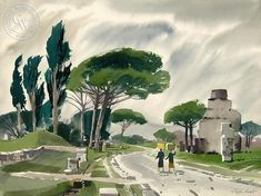 Via Appia, an original watercolor painting by Disney artist Ralph Hulett. This painting is available as a fine art giclée print on premium watercolor paper. Arches Watercolor Paper, Watercolor Logo, Watercolor Artists, Watercolor Paintings, Landscape Prints, Landscape Art, Art Prints For Sale, Fine Art Prints, Disney Artists