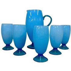 Carlo Moretti Murano Blue Opalino Drink Set