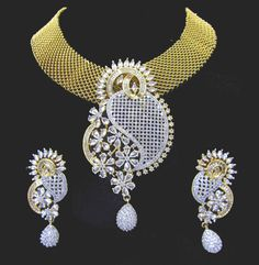 Indian CZ AD Gold & Silver Two Tone Bollywood Necklace Bridal Swam Jewelry 601 #Unbranded