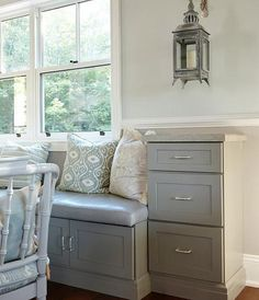 "You Got That Kitchen Where? | Oct 26, 2012 | sarahrichardsondesign.com | ""A built in banquette offers extra storage in cabinets beneath the seat, while towers of drawers anchor the ends with more storage (and a cozy place to hang out in the hub of the house)."""