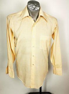Vintage Shirt Permanent Press Yellow Size 14 32 Long Sleeve Miramar Be Inspired! 70s Shirts, Retro Shirts, Vintage Shirts, Vintage Outfits, Vintage Clothing, Vintage Yellow, Vintage 70s, Mccalls Sewing Patterns, Yellow Shirts