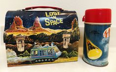Lost in Space Antique Lunch Box & Thermos (Vintage Lunchboxes & Thermoses, Metal Lunchbox)