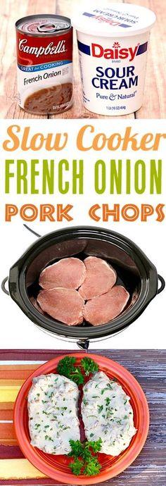 Slow Cooker Pork Chops Recipes Make Easy Boneless French Onion Chops . - Slow Cooker Pork Chops Recipes Easy Boneless French Onion Chops make the perfect … - Crock Pot Recipes, Recetas Crock Pot, Easy Pork Chop Recipes, Chicken Recipes, Onion Recipes, Crockpot Recipes For Dinner, Porkchop Recipes Crockpot, Beef Recipes, Pork Lion Chops Recipes