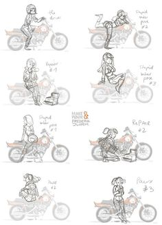 Maike Plenzke and Frederik Jurk collaboration. Love that they call the typical female with moto poses the 'stupid biker pose'. Maybe one day we'll rid the world of that ridiculous blight :)