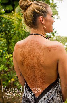 Flower of life back piece. Organic Henna Products.  Professional Henna Studio. KonaHenna.com
