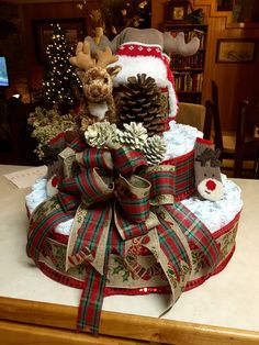 Diaper cake for a Christmas time baby shower. Christmas Time, Christmas Wreaths, Diaper Crafts, Diaper Wreath, Nappy Cake, Towel Cakes, Christmas Baby Shower, Future Children, Happy Kids