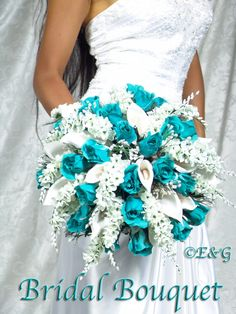 Complete Bridal Bouquet Package ANNA BELLE TEAL wedding bouquets silk flowers bridesmaid groom boutonnieres corsages. $349.00, via Etsy.