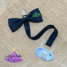 Monogrammed Bow Tie Pacifier Clip Paci Clip by BellesLikeBigBows