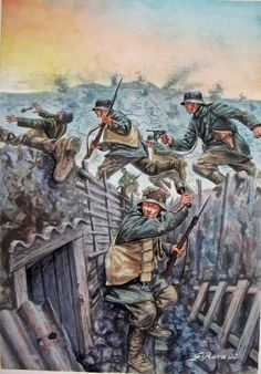 "kruegerwaffen: ""The Battle of Verdun was fought from 21 February – 18 December 1916 during the First World War on the Western Front between the German and French armies, on hills north of. Military Art, Military History, World War One, First World, Ww1 Art, Dieselpunk, Warfare, Art History, Drawings"